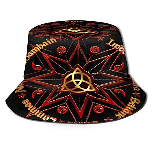 MAYUES Unisex Bucket Sun Hats Names Celtic Solstices Book Shadows Wheel Fashion Summer Outdoor Travel Beach Fisherman Cap