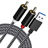 ZARSSON USB to 2-Male (6FT) RCA Audio Aux Cable for PC Stereo Y Splitter Adapter Compatible with USB A Laptop, Linux, Windows, Desktops, PS4 and More Device for Amplifiers, Home Theater, Speaker