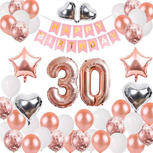 Danxian Verjaardagsdecoratie, banner ballon, Happy Birthday banner roségoud ballonnen 30 jaar oud verjaardag decoratie leveringen voor meisjes