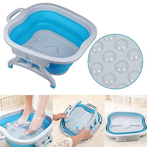Baril De Pédicure Pliant Bain de pieds soins des pieds Spar Bassin deau Portable Masseurs pour Les Pieds (Bleu)
