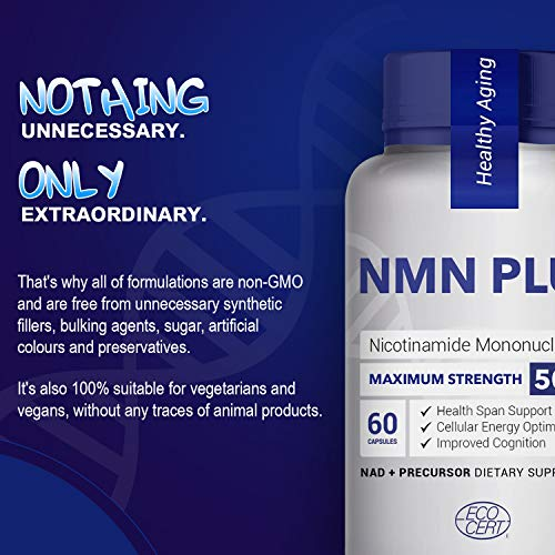 51iTYDHjcIL - Maximum Strength NMN Capsules, 500mg Per Capsule, Naturally Boost NAD Levels for Mental Performance& Anti Aging, 60 Capsules Nicotinamide Mononucleotide Supplement (Pack of 10)