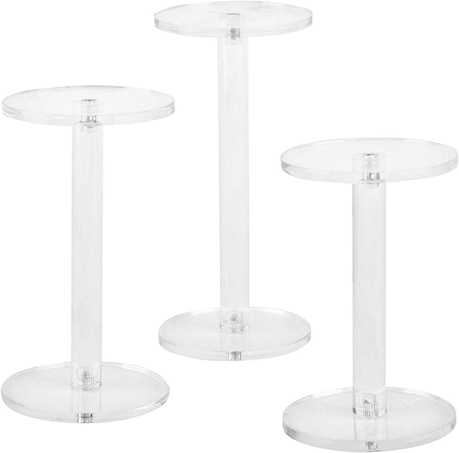 HUIJK Set of 3 Clear Round Acrylic Pedestal Display Risers Stand
