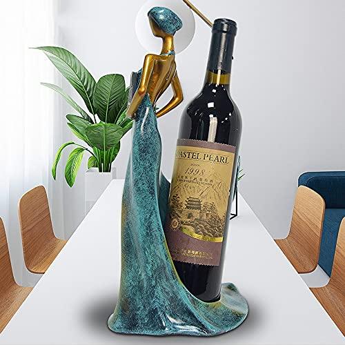 casier à vin Bouteille de vin Stand Stand Rack Wine Accueil/Salon/Hôtel/Décoration de Table Ornement De Mariage Ornement Beauty Girl Girl casier Bouteille (Color : Blue)