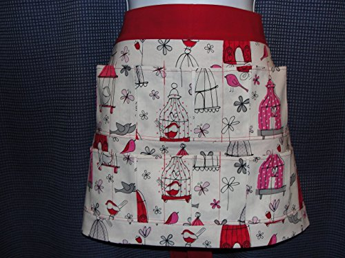 Red White Birds with Butterflies 10 Pocket Apron (Pockets hold eggs) Made in the USA!