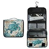 Toprint Sea Ocean Turtle Retro Map Hanging Toiletry Bag Travel Cosmetic Makeup Bag Pouch Waterproof Accessories Organizer Large Portable Wash Gargle Bag for Women Girls Seaweed Gift