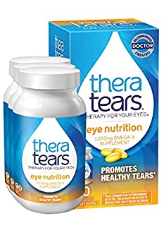 TheraTears 1200mg Omega 3 Supplement for Eye Nutrition Organic Flaxseed Triglyceride Fish Oil and Vitamin E 90 Count 3 Pack