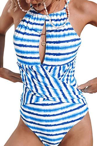 CUPSHE Women's Blue Watercolor Stripe Print Lined One Piece Swimsuit, M