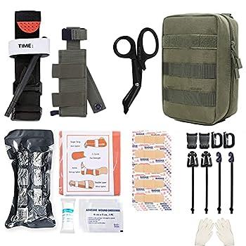 GRULLIN Kit de traumatologie Molle IFAK, Trousse de Premiers Soins Tactique, EMT d'urgence pour la Chasse au Camp de Kayak d'aventure de Voyage en Voiture, Kit de contrôle de saignement