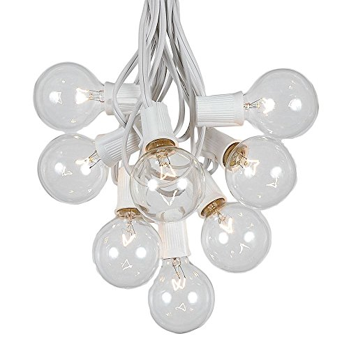 100 Foot G50 Outdoor Patio String Lights with 125 Clear Globe Bulbs  Indoor Outdoor String Lights  Market Bistro Caf Hanging String Lights  C9/E17 Base - White Wire