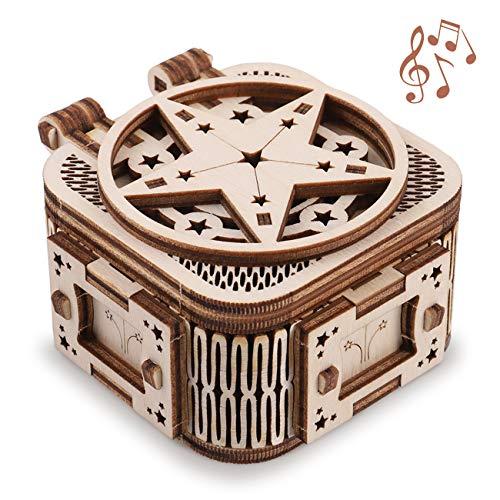 GuDoQi 3D Holz Puzzle, Holz Spieluhr mit 18 Tönen, Mechanischer Holzbausatz zu Bauen, DIY Montage Holzpuzzle Spielzeug, Bastelset, Geburtstags Geschenk aus Holz fur Erwachsene und Jugendliche