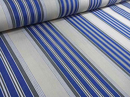 RIVERO TEJIDOS. Tejido de lona de toldo con rayas azules. Metraje 3,5m x 3,20m. Ideal para exterior.