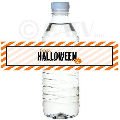 H101 Halloween Party set van 50 waterdichte zelfklevende water fles label vinyl schil en stok school klasse partij vleermuizen heks pad pompoen (Orange)