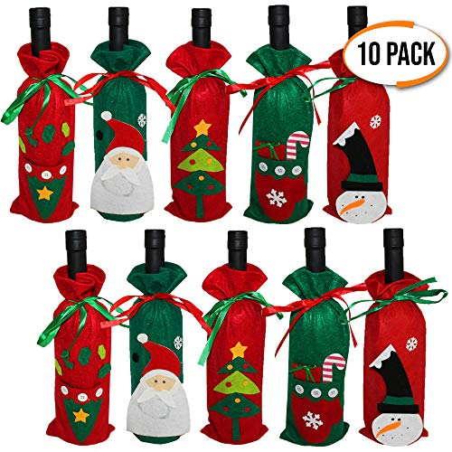 The Twiddlers Pack 10 Christmas Wine Bottle Covers | 5 Decorative Designs | Christmas Wine Bottle Covers | Wine Bag Christmas decorations | Wine Decor for Your Christmas Table