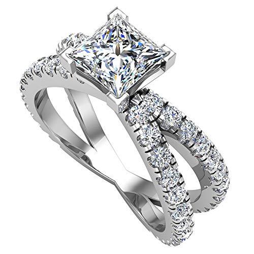 X Cross Split Shank Round Brilliant Diamond Engagement Ring 1.75 carat total weight 18K White Gold (G-H,I1)