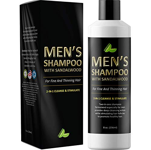 Mens Shampoo with Sandalwood  2 in 1 Invigorating Shampoo for Thicker Hair  With East Indian Sandalwood & Argan Oil  Cleanse and Stimulate Hair & Scalp with This Revitalizing Formula