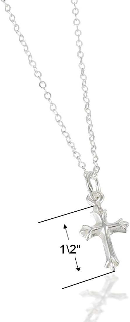 Baby Shower Gift Goddaughter Gift. Baptism Gift Baby Girl/'s Godchild Cross Necklace in Sterling Silver on a 14 Sterling Silver Box Chain