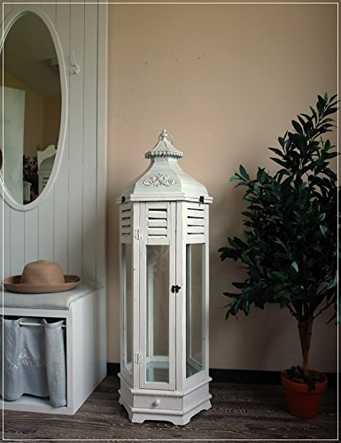 Große sechseckige Laterne aus Holz mit Metalldach und Schublade Höhe 115 cm L Weiß