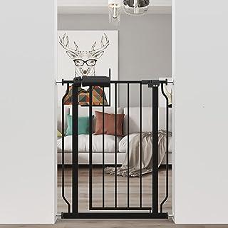 AIKSSOO Baby Safety Metal Gate Pressure Fit Walk Thru Narrow Gates Extra Wide Gates (Black, 61-74CM)