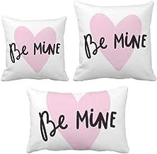 DIYthinker Be Mine Conjunto de almofadas escritas à mão com citação rosa para sofá de casa