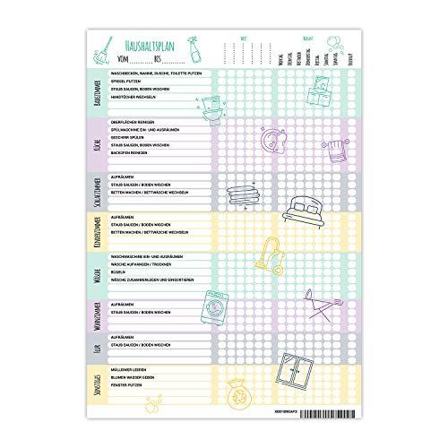 PlanMe Haushaltsplaner Putzplan mit Aufgabenverteilung -Planer DIN A4 - To Do Liste für den WG Haushalt - Aufgabenplaner für Familien mit Kindern - Putzkalender mit 50 Blatt Checkliste
