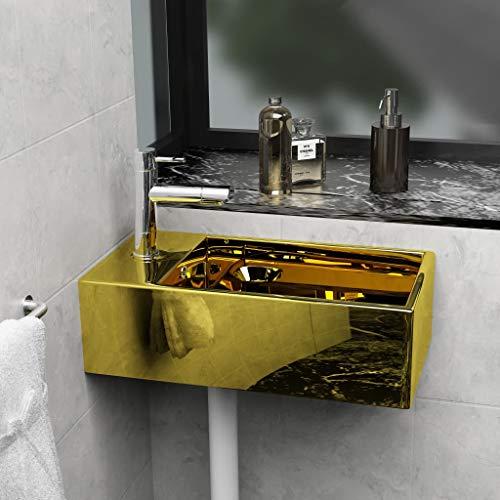 Festnight Keramik Waschbecken Aufsatzwaschbecken Handwaschbecken Waschschale Waschtisch | mit ?berlauf 49 x 25 x 15 cm Golden