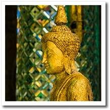 """3D Rose""""Birmania. Yangon. Sule Pagoda. Old Buddha Estatua en Perfil"""" Transferencia de Calor con Plancha 8 x 8 Pulgadas, Color Blanco"""