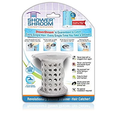 ShowerShroom the Revolutionary 2  Stand-Up Shower Stall Drain Protector Hair Catcher/Strainer, Gray