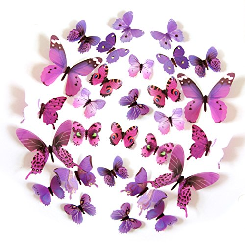 FLY SPRAY 24pcs Vivid Purple Butterfly Mural Decor Removable Wall Stickers with Adhesive Decals Nursery Decoration 3D Crafts