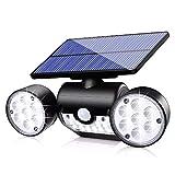 Plartree Luce Solare Esterno Impermeabile IP65, 30 LED Lampada Solari Esterno 2200 mAh Illuminazione con Sensore di Movimento Luci di Sicurezza Wireless per Giardino,Risparmio Energetico