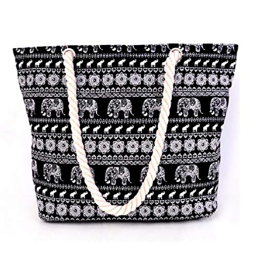 GINBL Large Canvas Elephant Tote Bag with Zipper for Women Travel Shopping Rope Handle Beach Handbag