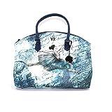 YNOT Borsa donna modello bugatti goffrato sintetico di colore blu stampa ballerina borsa con chiusura con zip, tasca esterna, tasche interne, doppio manico e tracolla regolabile. BIOSABORSE