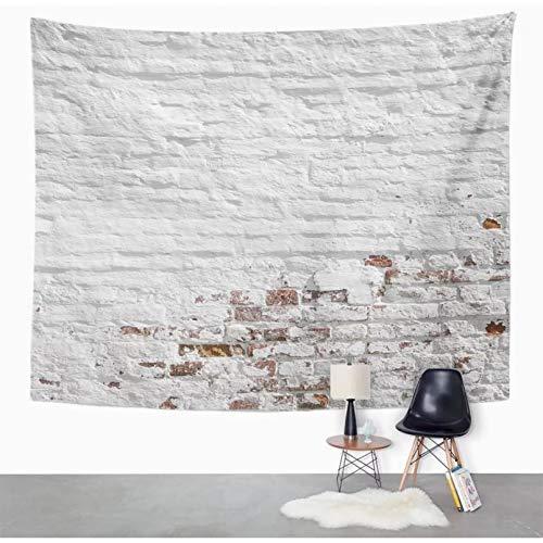 N/A Tapiz Tapiz de estuco Desigual de Pared de ladrillo Rojo Blanco Viejo Sucio Tapiz de estuco decoración del hogar Colgante de Pared para Sala de Estar Dormitorio DormitorioPulgadas