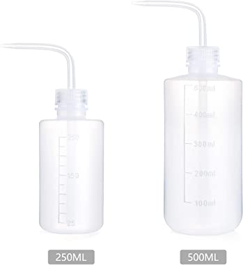 Mkono 2 Pack Watering Can, 250ML and 500ML Succulent Watering Bottle Plant Flower Squeeze Bottle Plastic Bend Mouth Safety Wa