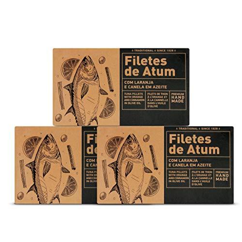 Thunfischfilets mit Orange und Zimt in Olivenöl | 3 x 120 g | Skipjack Thunfisch | Aveiro | Portugal