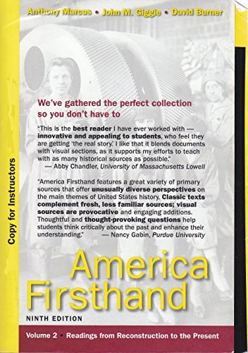 America Firsthand - Volume 2 - Readings from Reconstruction to the Present (Instructor Edition)