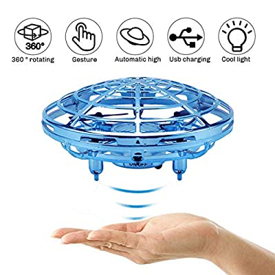 Scoolr Mini Drones for Kids and Adults, UFO Flying Ball Toys Hand Controlled Drone Quadcopter Flying Toys, Interactive Infrared Induction Helicopter Ball with 360° Rotating and Shinning LED Lights