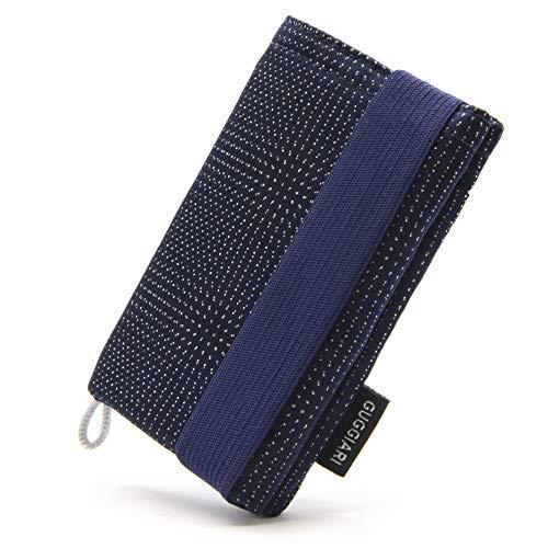 GUGGIARI® Slim Wallet mit RFID Schutz für Kreditkarten-, Bargeld- und Schlüsselhalter - Kartenetui Herren - Schlanke Geldbörse Damen - Portemonnaie - Kreditkartenetui. (Mikrofaser, Navy - Pindot)