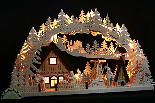 3D LED Schwibbogen 72cm mit Räucherhaus und elektrischer Pyramide Handarbeit aus dem Erzgebirge