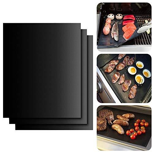 Grill Mat Oven Liner Set de 2 Tamaños Diferentes De Rejilla Antiadherente Para Barbacoa BBQ Grill Para parrilla De Gas, Parrilla Eléctrica, Horno Eléctrico,Resistente Al Calor Fácil de Limpiar