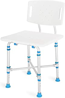Health Line Heavy Duty Shower & Bath Chair with Removable Backrest, 600 lb. Weight Capacity, with Extra Large Seat Non-Slip Adjustable Bath Bathtub Bench for Elderly, Disabled, Seniors & Bariatric