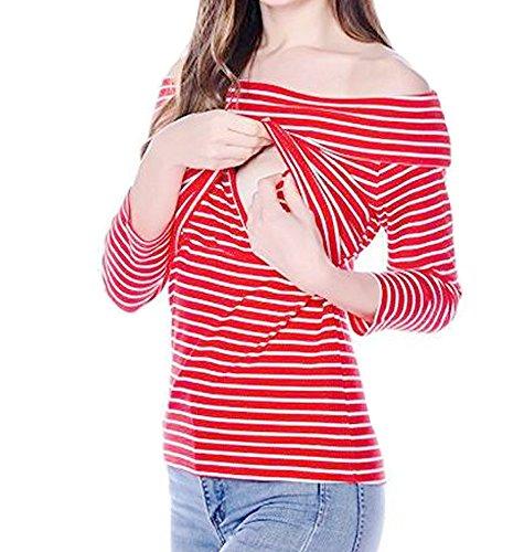 BEAdressy Women Stripe Print Off Shoulder Long Sleeve Nursing Tops Breastfeeding Shirts (L, Red/White)