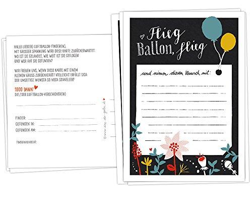 50 Ballonflugkarten Flieg, Ballon, flieg - für Hochzeit, Geburtstag, Taufe, Kommunion, Hochzeitsspiel mit Ballonkarten & Partyspiel, schwarz bunt, extra leicht, 170 g Recyclingpapier, CO2 neutral
