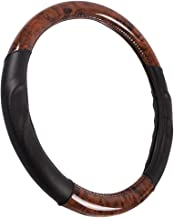 ACDelco Steering Wheel Cover – Dark Wood Grain with Soft Black Microfiber Leather for Standard Wheel Sizes (14.5-15.5 inch)
