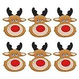 Amosfun Reniter Serviettenringe Weihnachten Hirsch: 6 Stücke Serviettenhalter Elch Figur Serviettenschnalle Stoffservietten Ringe für Tischdeko Streudeko Weihnachtsdeko Winter Xmas Deko Ornamente