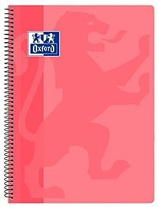 Oxford Classic - Cuaderno espiral, tapa plástico, cuadrícula 4x4, color rosa chicle