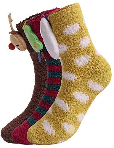 Hawiton ouders-kind knuffelsokken warme wintersokken kerstsokken schattig cartoon patroon huisschoensokken anti-slip noppen sokken (sneeuwpop + kerststal + kerstboom, kinder)