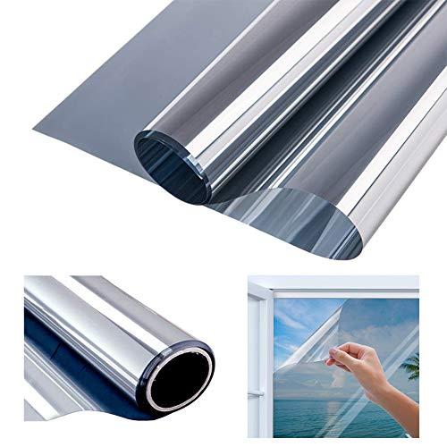 Modrad Spiegelfolie Selbstklebend Fensterfolie Selbsthaftend Sichtschutzfolie Anti-UV für Büro und Haus silber Fenstertönung