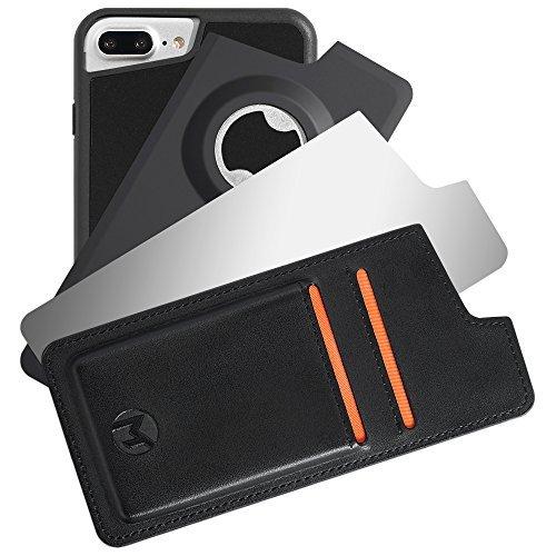 MegaPack Anti-Gravity iPhone 8+/7+/6S+/6+, custodia cover, nano aspirazione con ventose per attaccarsi su qualsiasi superficie, case di protezione con portafoglio in pelle, specchio e aribottiglie