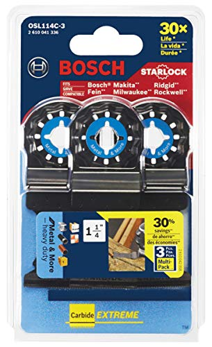 """Bosch Starlock Carbide Oscillating Tool Blades, Multi Tool Blades for Cutting Iron Bar, Metal, Wood with Nails, Drywall and Tile; 3-Pack, 1-1/4"""" Width (OSL114C-3)"""