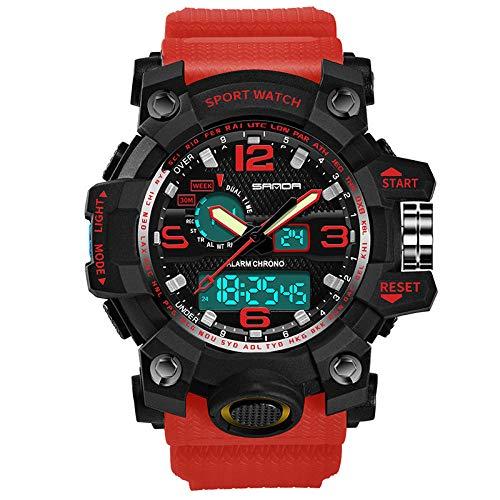 SANDA Reloj Hombre Watch Watch Fashion Sports multifunción Estudiante Reloj electrónico Reloj de Cuarzo Impermeable para Hombres-Rojo Negro